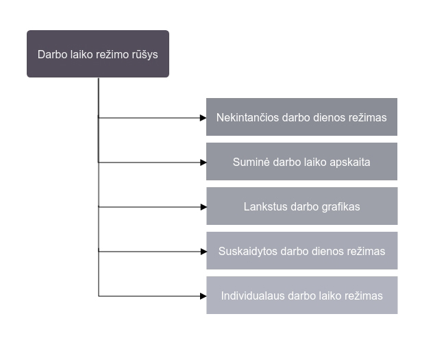 Darbo laiko rėžimo rūšys (diagrama)